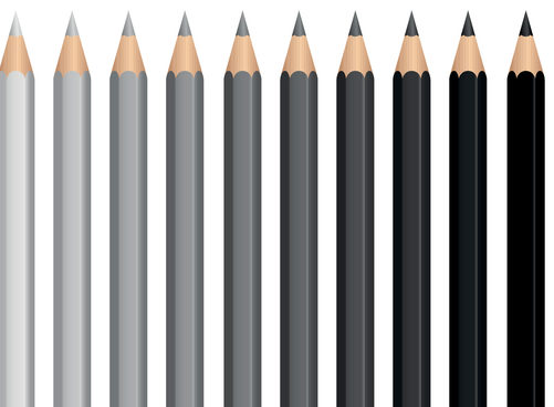 Pencils - charcoal crayons - gray scale from light gray to deep black. Illustration over white background.